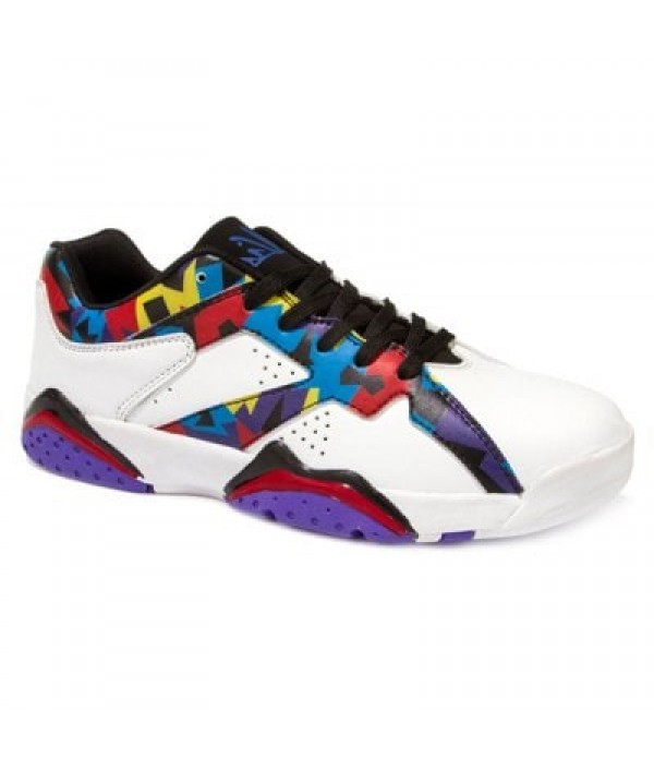 PU Leather Lace-Up Geometric Print Athletic Shoes