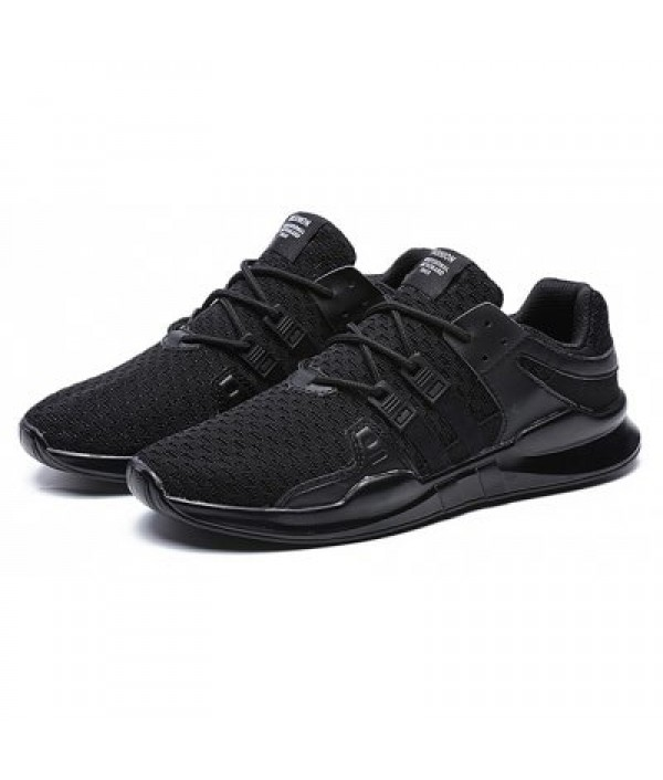 Male Knitted Lace Up Light Athletic Shoes