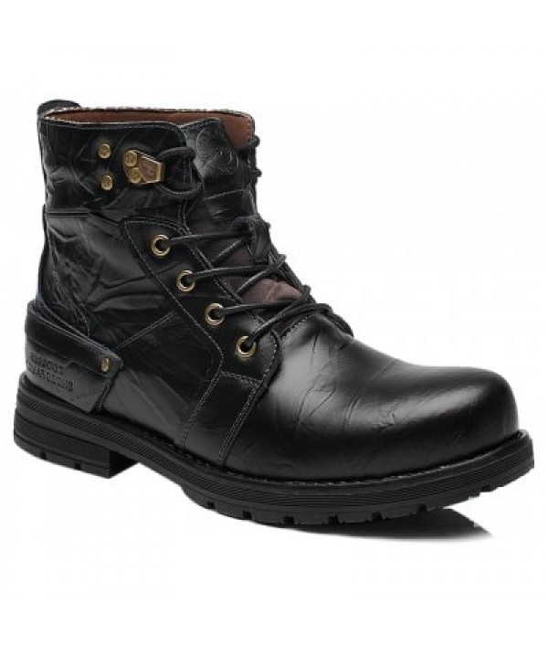 Lace Up PU Leather Metal Boots...