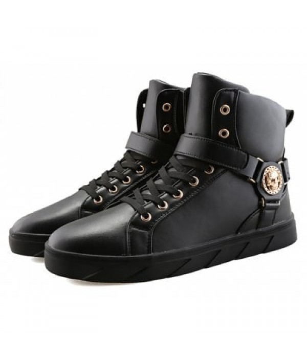 Male Punk Lace Up High Top Skull Pattern...