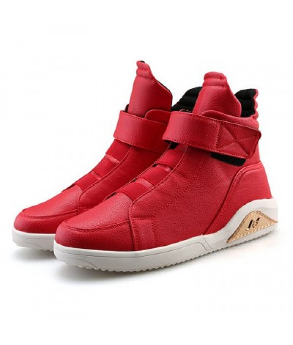 Male Casual Solid Color High Top Leather...